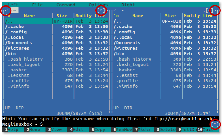 Directory and command line history mouse controls